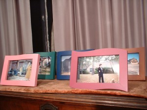 Family homes. 2004; set of five color photos in wooden frames