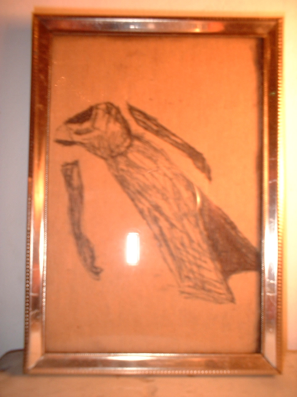 Prom Dress Drawing #8. 1995; ink on chipboard, metal frame