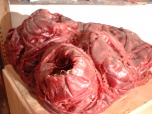 Large heart. 1991; wax, ripped and knotted old coat