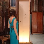 """[open view] """"Smarty, Smarty, Smarty. Thought you had a party."""" 2001; doors, wood canvas, clay mercury vapor lamp, elect. components"""