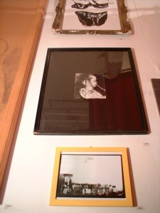(including:) R.R. blowing his brains out. 1995; ink & charcoal on paper, black frame w/ glass, white spray paint