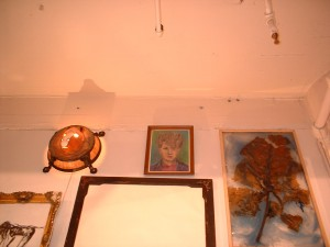 (from left) Nothing can be possessed. 2001;wax metal, lights, etc.;  Pastel self portrait, 1984; pastel on paper, frame; Subtropics. 1999, leaf, wax, pigment, plastic, wood